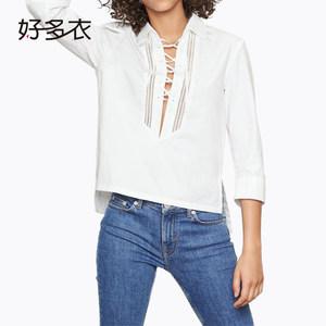 好多衣春季新款欧美时尚胸前绑带上衣前短后长七分袖翻领<span class=H>衬衫</span>女