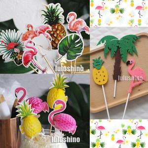 烘焙蛋糕装饰 夏日椰子树生日派对装扮 3D立体火烈鸟<span class=H>菠萝</span>插牌插件