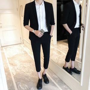 春夏短袖西服套装男九分裤青年韩版修身一套学生休闲帅气小西装潮