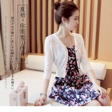 New ice silk knitted cardigan for summer thin slim ice hemp short air conditioning blouse with sunscreen blouse over shawl