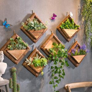 创意店铺墙上墙面装饰品挂墙花盆奶茶店墙壁挂件仿真绿植植物壁挂