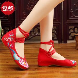 新款正品老北京<span class=H>布鞋</span>民族风广场舞蹈<span class=H>绑带</span><span class=H>绣花鞋</span>内增高坡跟女鞋单鞋