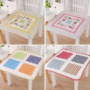 四季纯棉薄款透气布艺椅子垫子<span class=H>坐垫</span>简约现代家用欧式餐椅垫带绑带