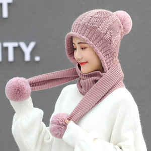 毛线<span class=H>帽子</span>女冬天韩版百搭连围巾一体帽冬季可爱护耳加厚保暖针织帽