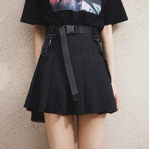 机能风黑色工装<span class=H>短裙</span>夏季个性潮帅气女装酷酷的裙子高腰a字半身裙