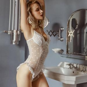 性感睡衣女夏少女蕾丝荷叶边波点透视网纱诱惑情趣连体衣女内衣