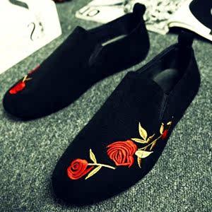 2018夏季新款刺绣豆豆鞋子<span class=H>男鞋</span>中国风套脚时尚布鞋休闲鞋男懒人鞋