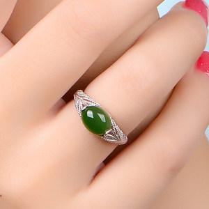 天然和田碧玉戒指 女款925纯银绿宝石开口日韩潮人玉指环生日礼物