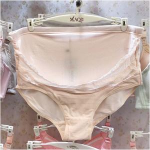 霞琪孕妇高腰<span class=H>内裤</span>莫代尔棉蕾丝独立托腹孕后期大码三角裤E-1723-1