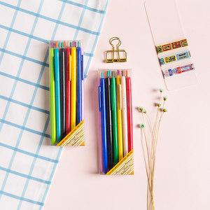 洛林韩国创意可爱彩色中性笔韩版按动式糖果色小清新文具水笔套装