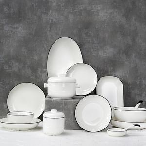 日子里欧式简约黑线条系列餐具创意陶瓷菜盘子家用饭碗釉下彩碗盘
