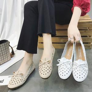 夏季新款平底<span class=H>单鞋</span>女韩版透气镂空软底白色护士鞋浅口蝴蝶结豆豆鞋