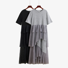 2019 new female spring short-sleeved loose fairy mesh skirt mosaic dress female long skirt over the knee cake skirt fairy