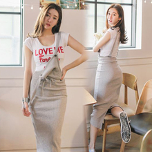 South Korea's New Summer Belt Skirt Women's Korean Edition Slim Dress with Hip Opening Temperament