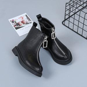 女童短靴春秋单靴2019新款时尚靴子公主马丁靴黑色前拉链儿童皮靴