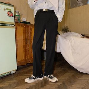 IHO陈浩恩 <span class=H>休闲裤</span>男宽松韩版潮流直筒垂感阔腿裤西裤百搭黑色长裤