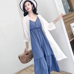 夏天配吊带裙的小披肩薄外套中长款外搭超仙雪纺防晒衣女开衫套装