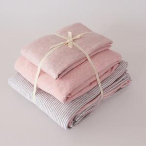 天竺棉裸睡全棉<span class=H>四件套</span> 简约条纹针织棉被套床笠纯棉床单床上用品