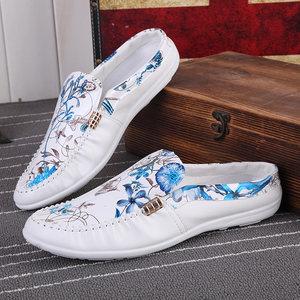 夏季拖鞋男士包头半拖鞋英伦豆豆鞋男沙滩<span class=H>凉鞋</span>防滑个性休闲潮托鞋