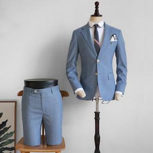 脊椎动物男装浅蓝条纹修身西服配裤子两件套装法式条纹度假风西装