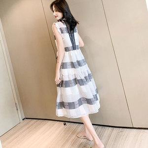 <span class=H>女裝</span>2019夏新款潮流行裙子收腰顯瘦法式復古高端氣質中長款裙洋氣