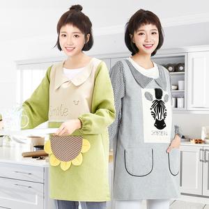 韩式厨房<span class=H>围裙</span>时尚长带<span class=H>袖套</span>公主布艺做饭男士款罩衣围腰厨师工作服