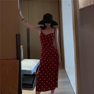 醉雨点春夏2019<span class=H>连衣裙</span>女韩版新款复古百搭中长款波点吊带裙女