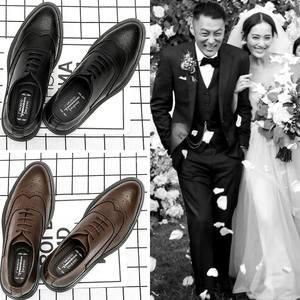 结婚新郎潮男小皮鞋男青少年夏季韩版英伦百搭洛克雕花内增高休闲