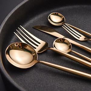 净之居annie亮金色304不锈钢牛排<span class=H>刀叉</span>勺三件套装西餐餐具筷子勺子