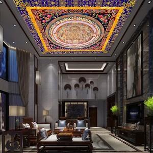 藏式天花板壁纸大型中式佛教藏式唐卡大型吊顶棚顶墙纸佛堂壁画