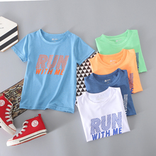 Fast-drying, quick-drying, short-sleeved T-shirt for boys and girls in alphabetical printing Sports