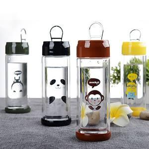 创意卡通易拉罐双层透明<span class=H>玻璃</span>水杯小黄人龙猫猴子<span class=H>熊猫</span>高棚硅随手杯