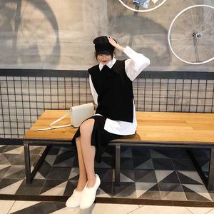 2018初秋季新款chic毛衣衬衫三件套装女早秋网红同款针织裙子<span class=H>时尚</span>