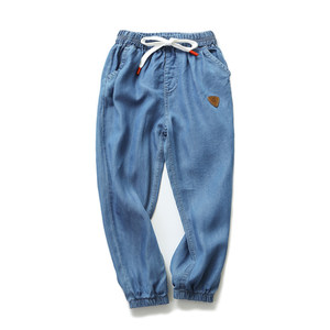 男童夏季薄款<span class=H>牛仔裤</span><span class=H>纯棉</span> <span class=H>天丝</span>凉爽 18夏季新款中大儿童收口休闲裤