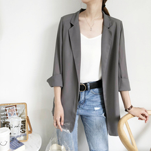 Korean version 19 Spring and Summer New Seven-Sleeve Medium and Long Chiffon Net Red Small Suit Jacket Thin Female Black, White and Grey Suit oz19
