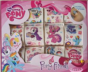 儿童卡通防水盒装纹身贴纸小马宝莉贴My Little Pony女孩生日礼物