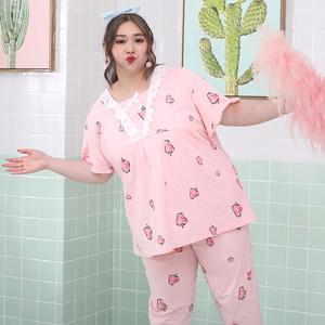 夏季韩版女士纯棉草莓蕾丝甜美宽松胖mm大码睡衣200斤<span class=H>家居服</span>套装