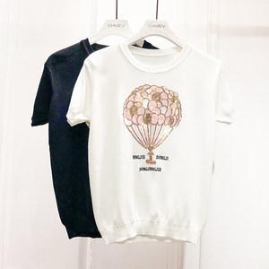 冰丝短袖t恤女韩版刺绣亮片气球针织打底衫圆领套头短款学生上衣
