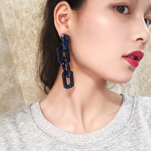 Europeans and Americans cold, simple and exaggerated long chain Blue Earrings temperament personality retro ins Earrings