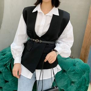 2019春装新款韩版女装V领黑色马甲修身显瘦衬衣两件套<span class=H>衬衫</span>上衣