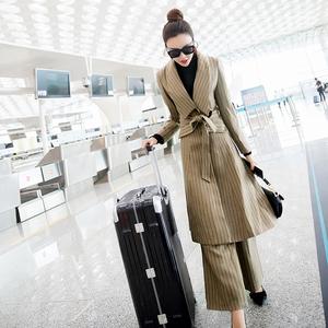 女神范名媛秋冬套装女装两件套2018新款气质时尚洋气欧洲站阔腿裤