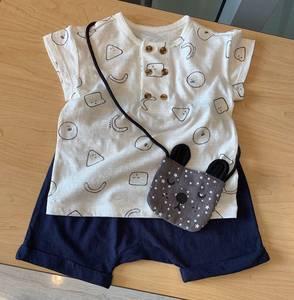韩国中小童装 19夏新品男女童宝宝纯棉短袖T恤 短裤小包可爱套装