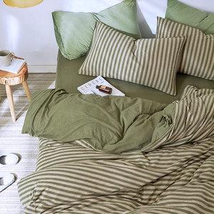 裸睡条纹天竺棉床上用品针织棉4件套全纯棉被套床单床笠三<span class=H>四件套</span>