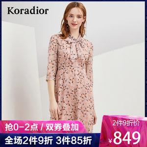 Koradior/珂莱蒂尔品牌女装2019夏装新款碎花修身七分袖连衣裙女