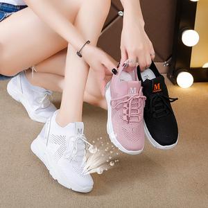 内增高<span class=H>女鞋</span>运动鞋小白鞋飞织透气<span class=H>女鞋</span>百搭休闲鞋2019新款夏季<span class=H>鞋子</span>