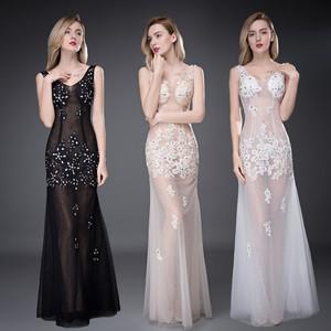 新款夜店女装春夏2018性感透明礼服长款透视装修身深V领蕾丝车模