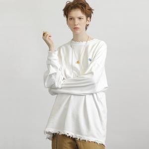 UNVESNO國潮18AW復古做舊純色日系基礎款情侶打底衫長袖套頭<span class=H>衛衣</span>