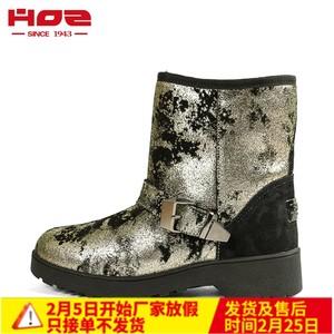 冬季新款<span class=H>HOZ</span>后街 时尚加绒<span class=H>雪地</span>靴女绒面短靴女<span class=H>鞋</span>短筒圆头平跟靴子