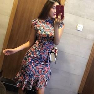 <span class=H>旗袍裙</span>夏女2018新款少女性感修身鱼尾现代年轻款中国风短袖连衣裙