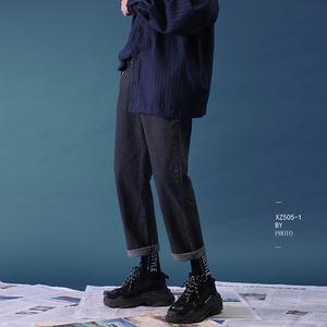 @方少<span class=H>男装</span> 2019春季韩版男生直筒<span class=H>牛仔裤</span>潮流宽松休闲百搭阔腿裤子